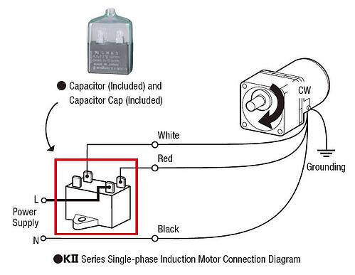 AC PSC motor wiring with a capacitor