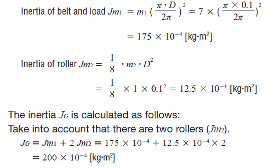 Load inertia calculation example for conveyor