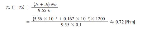Acceleration torque equation