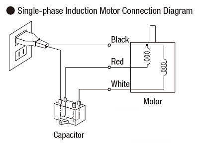 Single-phase induction motor connection diagram
