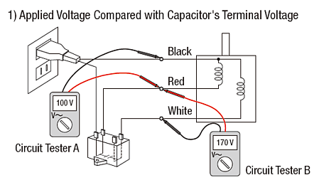 Compare applied voltage with capacitor terminal voltage