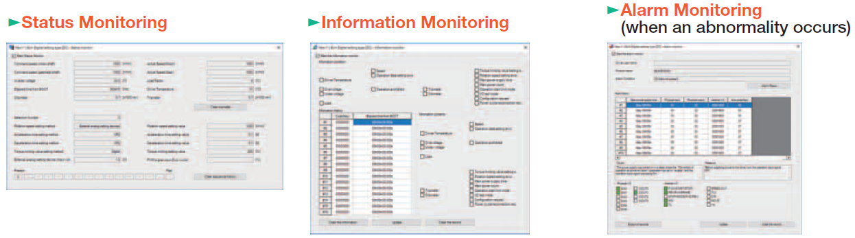 MEXE02 software: monitoring functions