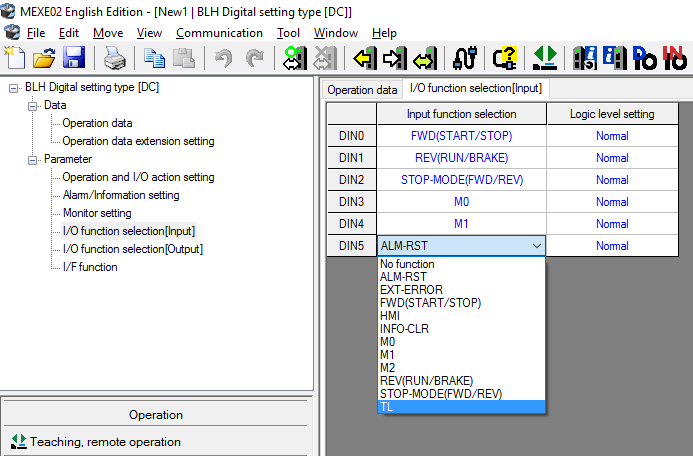 MEXE02 software: I/O signal assignments