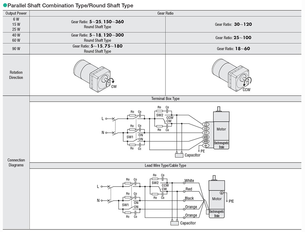 AC electromagnetic brake motor bidirectional wiring diagrams