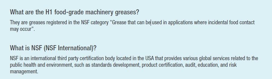 H1 food-grade grease info
