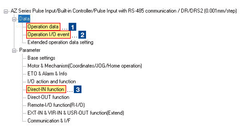 MEXE02 software: side menu