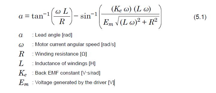 Lead angle formula for brushless motors