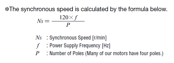 Formula for calculating synchronous speed for AC motors