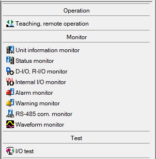 MEXE02 software screen - teaching, remote, monitor, and test operation