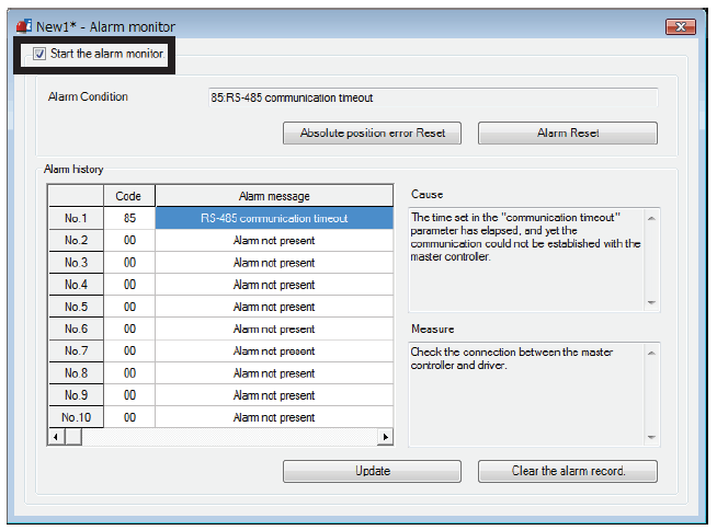 MEXE02 software - alarm monitor