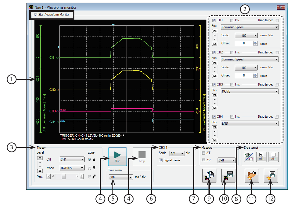 MEXE02 software - waveform monitor