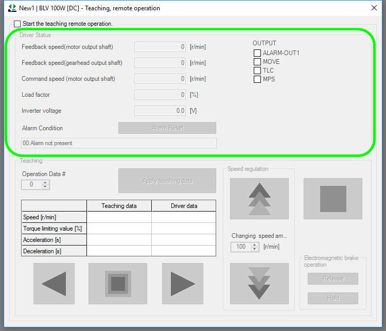 MEXE02 software screen - teaching, remote operation