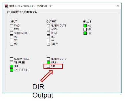 MEXE02 software - DIR output monitor